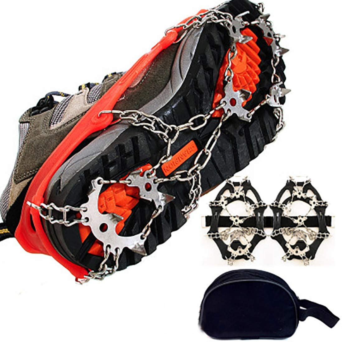 ZHL 1 Pair 18-Teeth Stainless Steel Ice Gripper Spike Shoes Outdoor Anti Slip Climbing Snow Spikes Crampons Cleats Chain Claws Grips