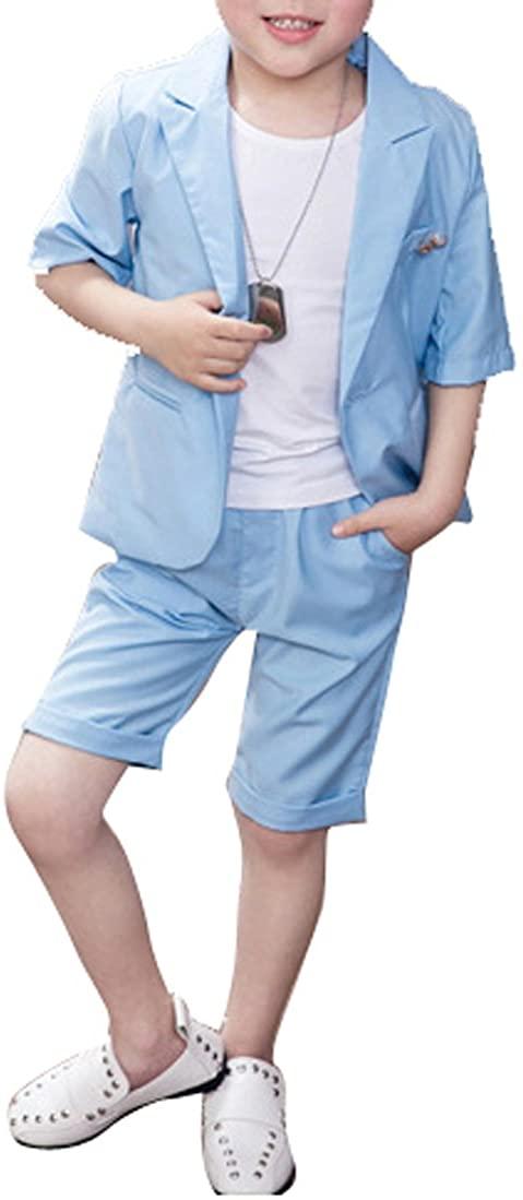 Boys Summer Suit Set 2 Pieces Short Sleeve Blazer and Shorts Set