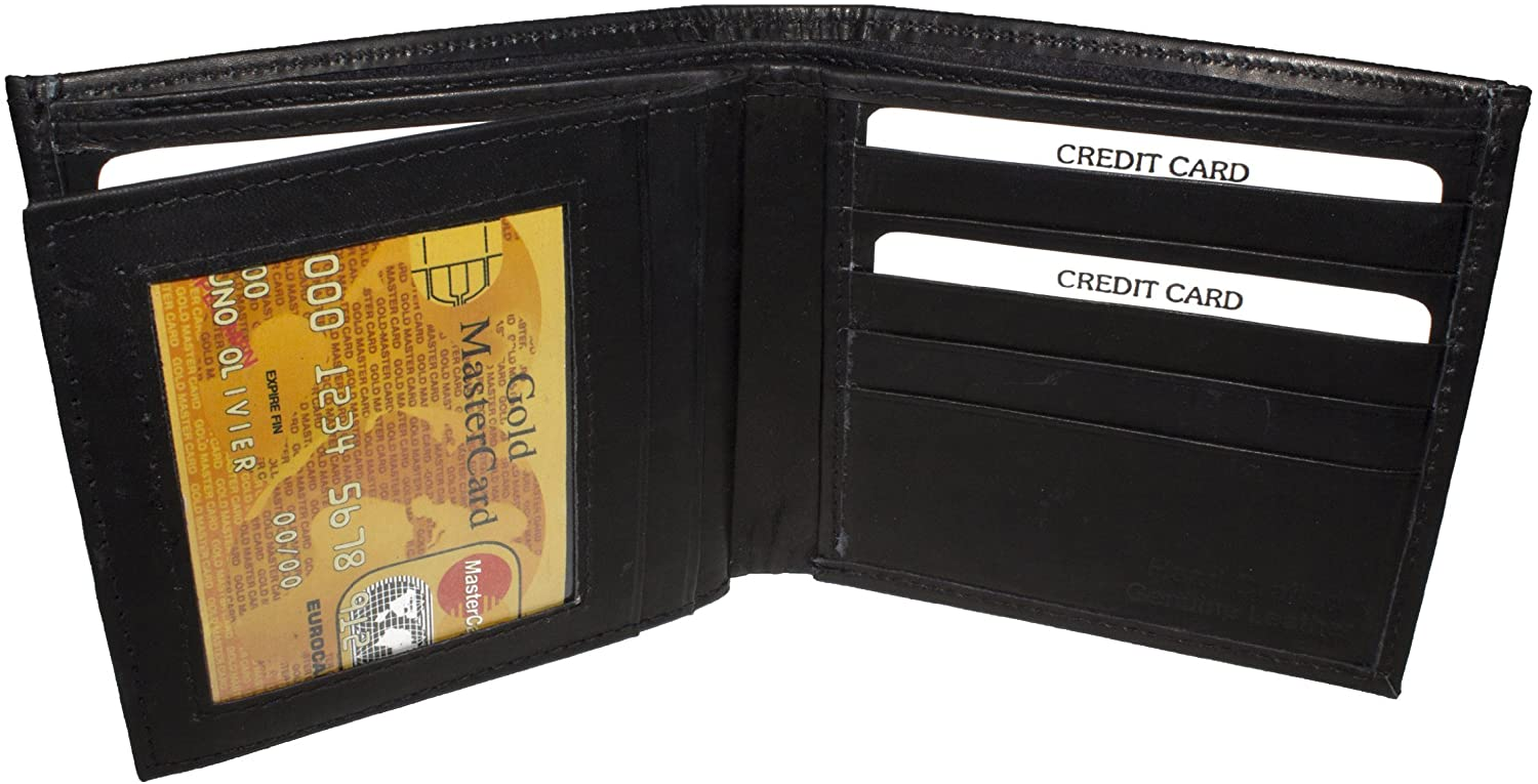 LeatherBoss Mens Bifold Hipster Wallet with Middle Flap