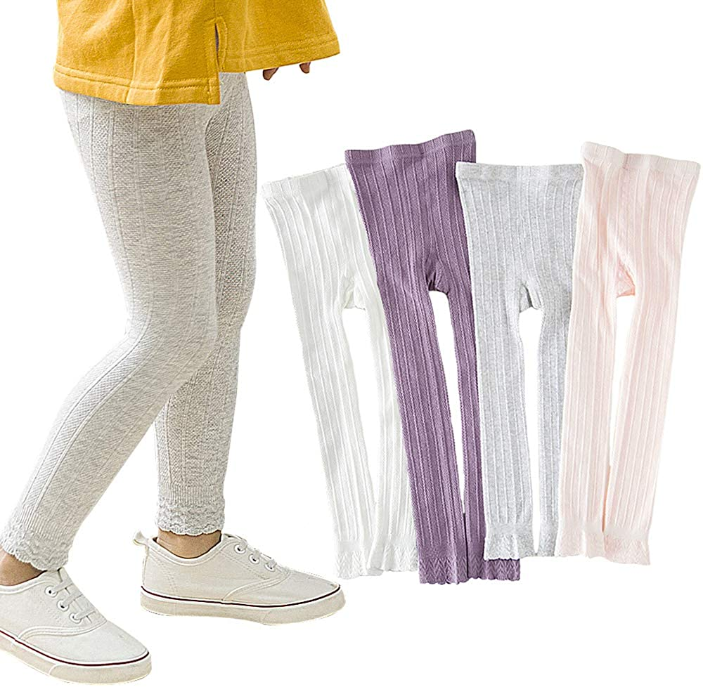 eccbox 4 Pack Girls Leggings Footless Cable Knit Tights Pants Stockings 1-8T