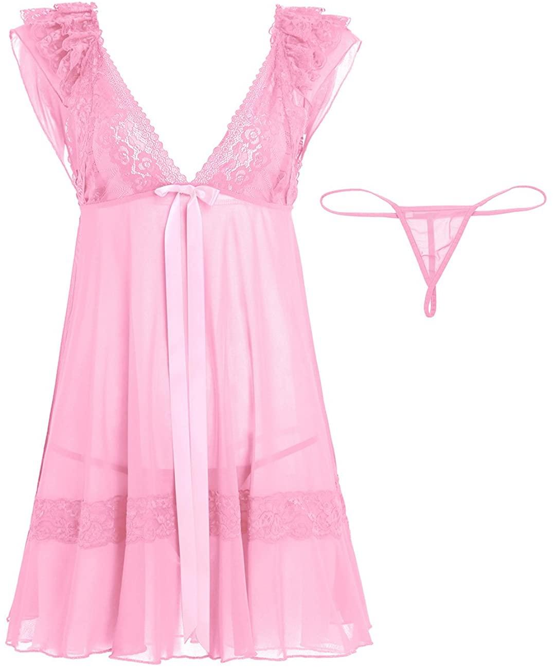 iEFiEL Women V Neck Lace Bust See-Through Babydoll Nightwear Sleepwear with G-String