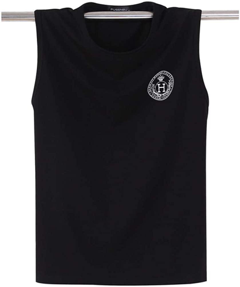HOSD Summer Men's Cotton Vest Loose Large Size Sleeveless t-Shirt Sports Fitness Black