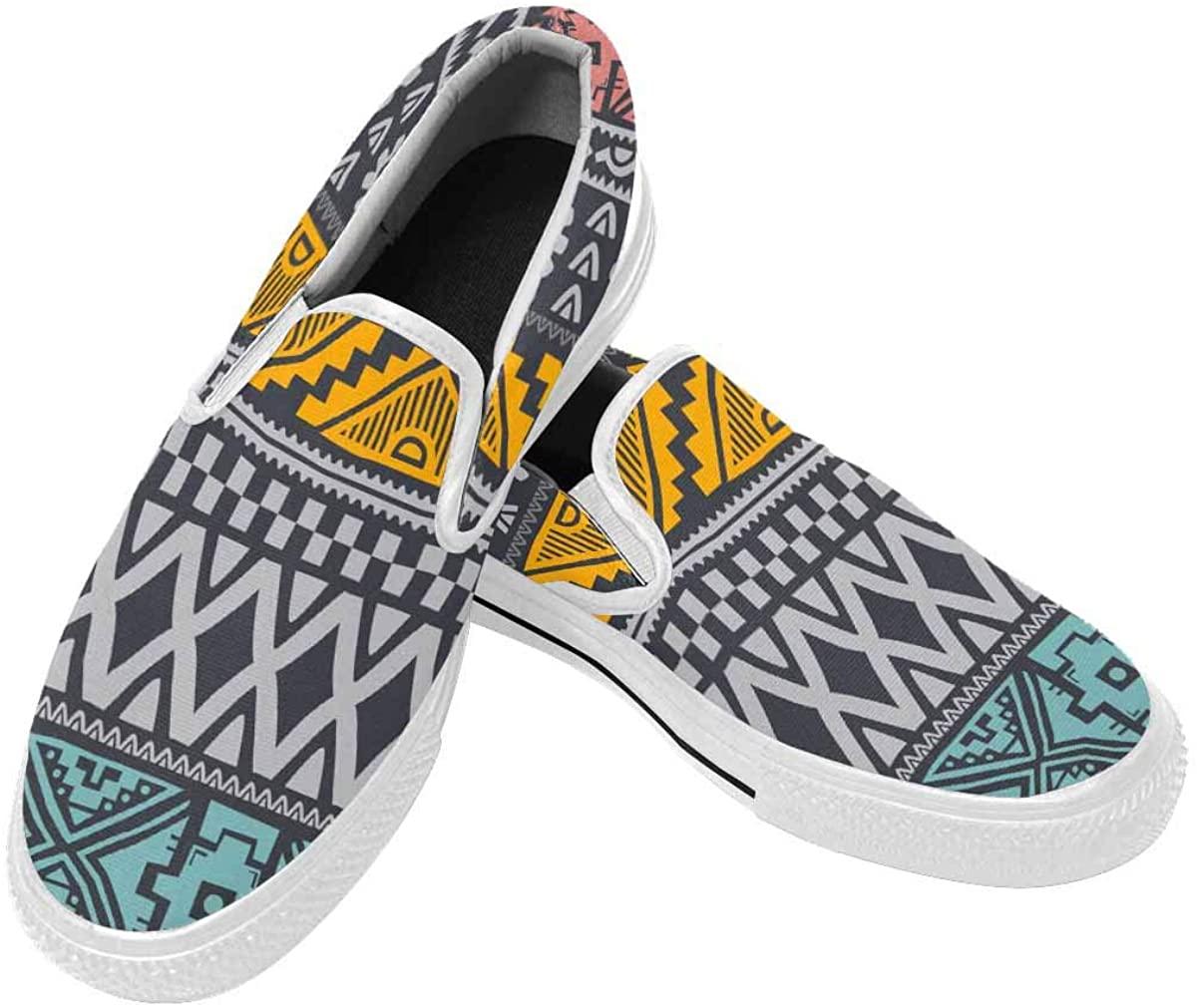 InterestPrint Canvas Lightweight Sneakers Slip-On Walking Casual Shoes foe Men Native Tribe Pattern