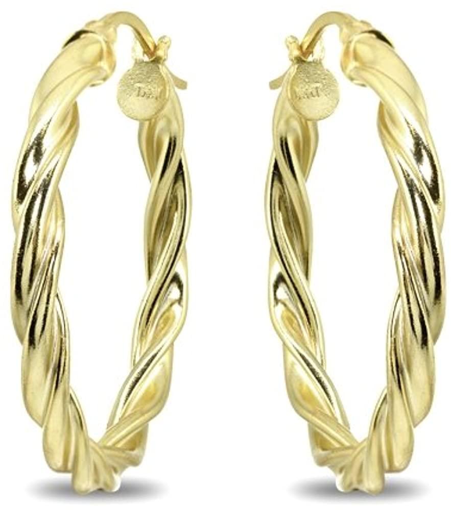 Gold Flash Sterling Silver Twist Round Hoop Earrings for Women Girls (2x15mm - 45mm Diameter)