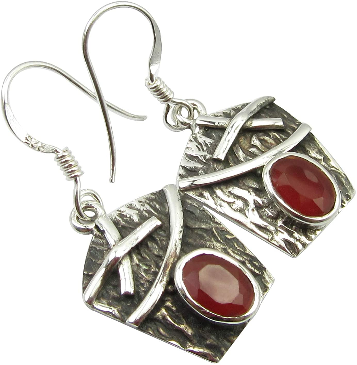 SilverStarJewel 925 Stamped Pure Sterling Silver Carnelian tcw 2.0 Oxidized Earrings 1.3