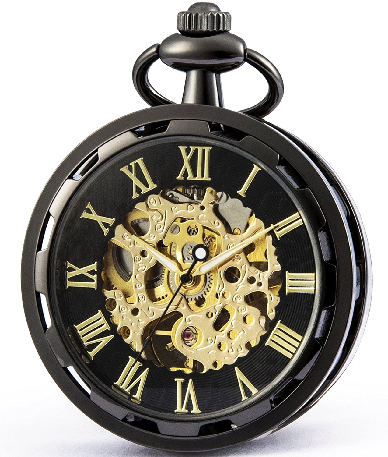 SEWOR Retro Single Face Carving Pocket Watch with Two Chains, Mechanical Hand Wind