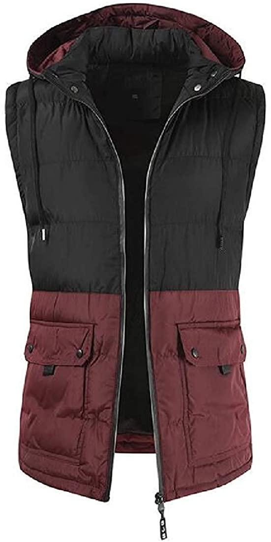 Gsdgjgg Men's Winter Warm Color Block Hoodie Down Vest Quilted Puffer Vest Jacket Outwear,2,Large