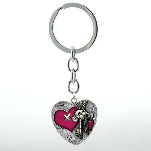 My Valentine Steampunk Key to My Heart Keychain Rose Flower Charm Women Hope Love Heart Pendant Key Chain Ring Lovers Gift HP551