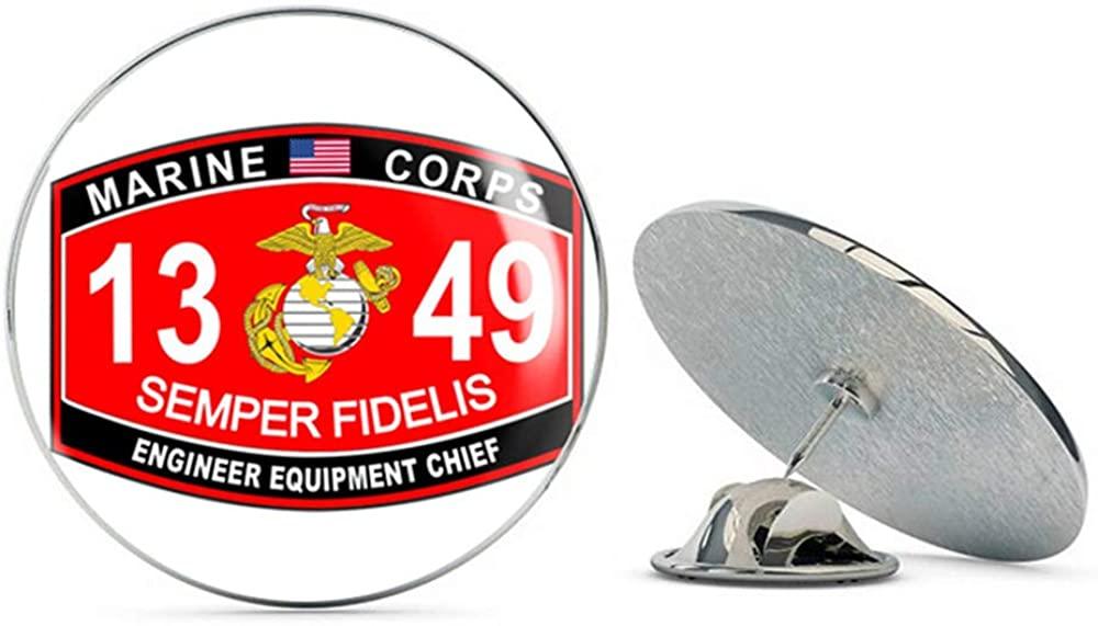 Veteran Pins Engineer Equipment Chief Marine Corps MOS 1349 USMC US Marine Corps Military Steel Metal 0.75