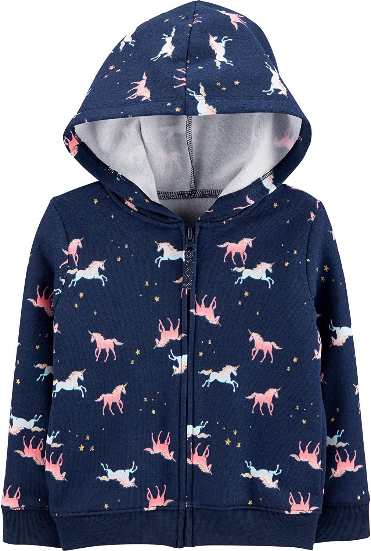 Carter's Girl's Zip Front Fleece Lined Hoodie