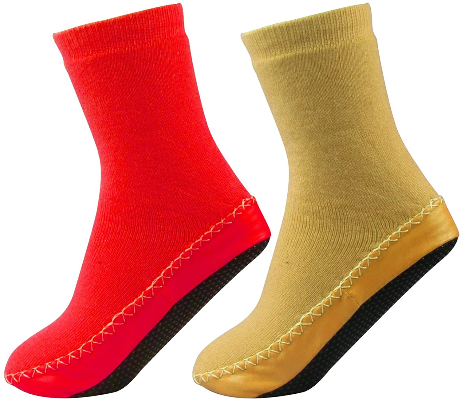 J. Ann 2 Pair/Pack Little Kids Slipper Socks With Non Slip, Red/Beige