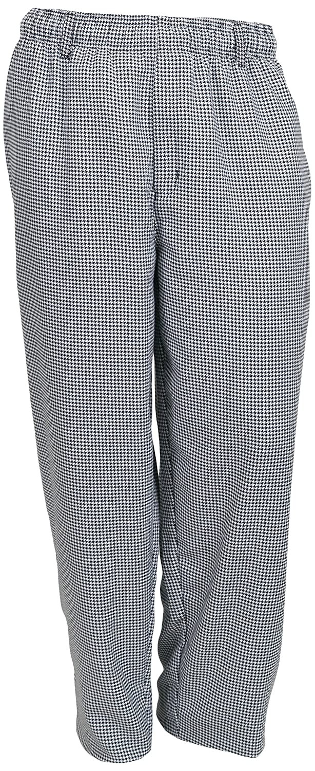 Mercer Culinary M60030HTS Millennia Men's Cook Pants in Hounds Tooth, Small, Black/White