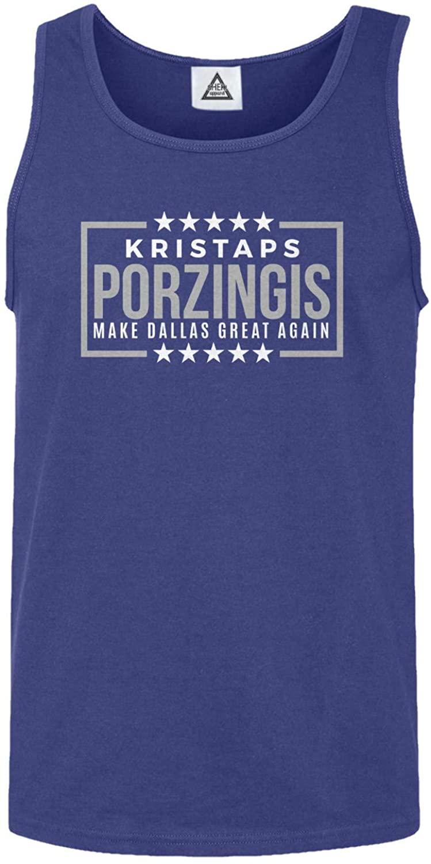 Dallas Basketball Porzingis Make Dallas Great Again Tank Top (Royal,