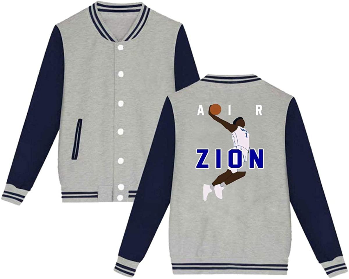 BAOVSYC Zion Duke Blue Devils Air Unisex Baseball Jacket Varsity Jacket Gray