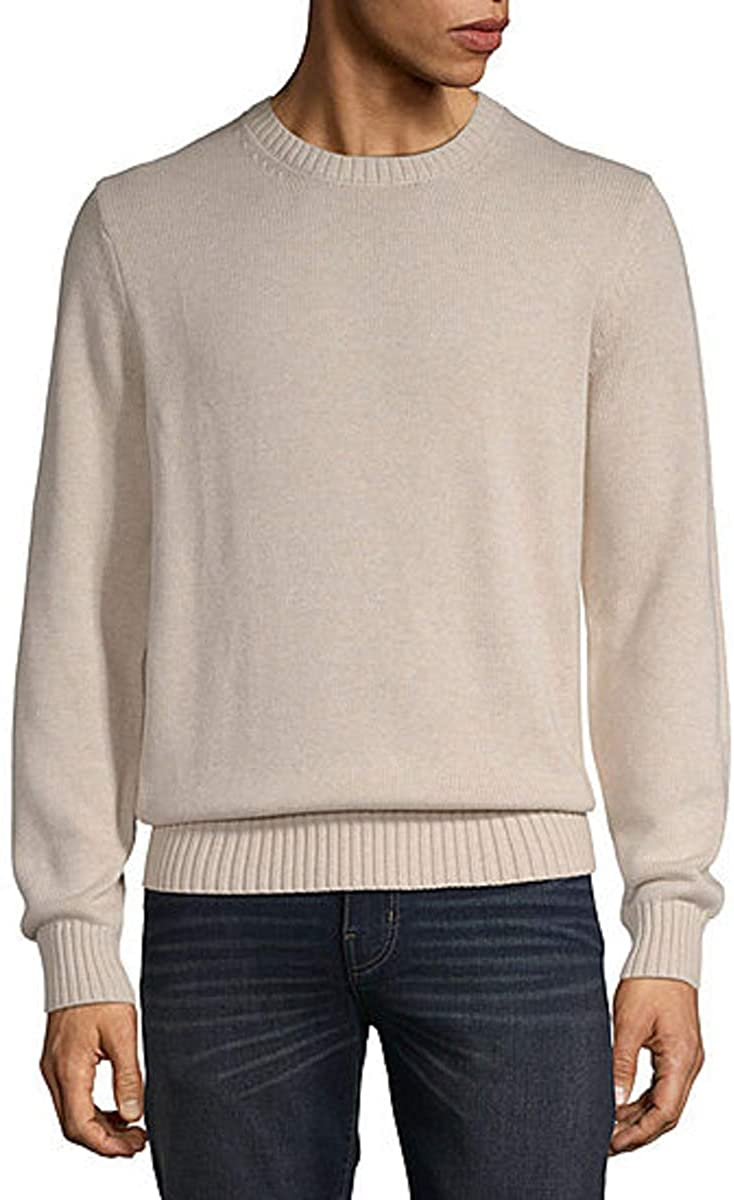 St. John's Bay Crew Neck Long Sleeve Pullover Sweater (Oatmeal Heather, Small)