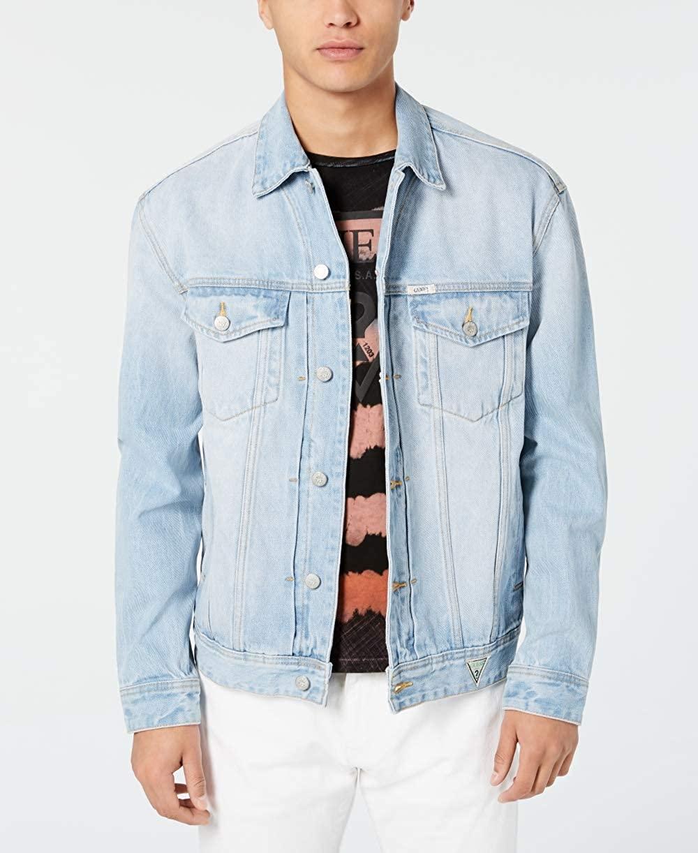 GUESS Men Jacket Jean Flap-Pocket Denim Logo Embroidered Blue 2XL