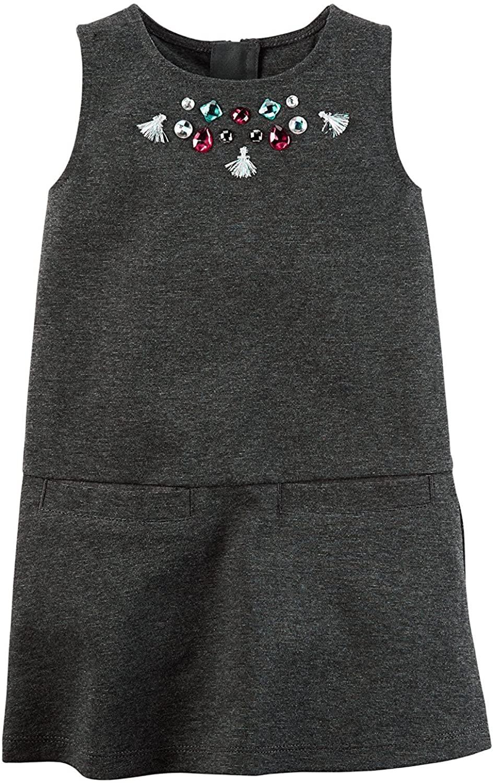 Carter's Girls Embellished Ponte Shift Dress, Grey,
