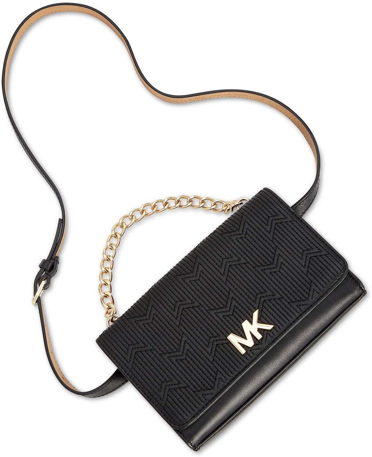 MICHAEL Michael Kors Deco M Quilted Leather Belt Bag Fanny Pack, Black (S/M)