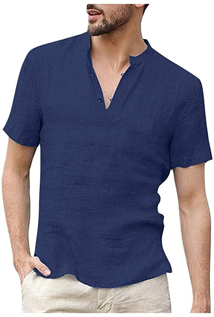 Mens Short Sleeve Henley Shirt Cotton Linen Beach Yoga Loose Fit Henleys Tops Hippie T-Shirts