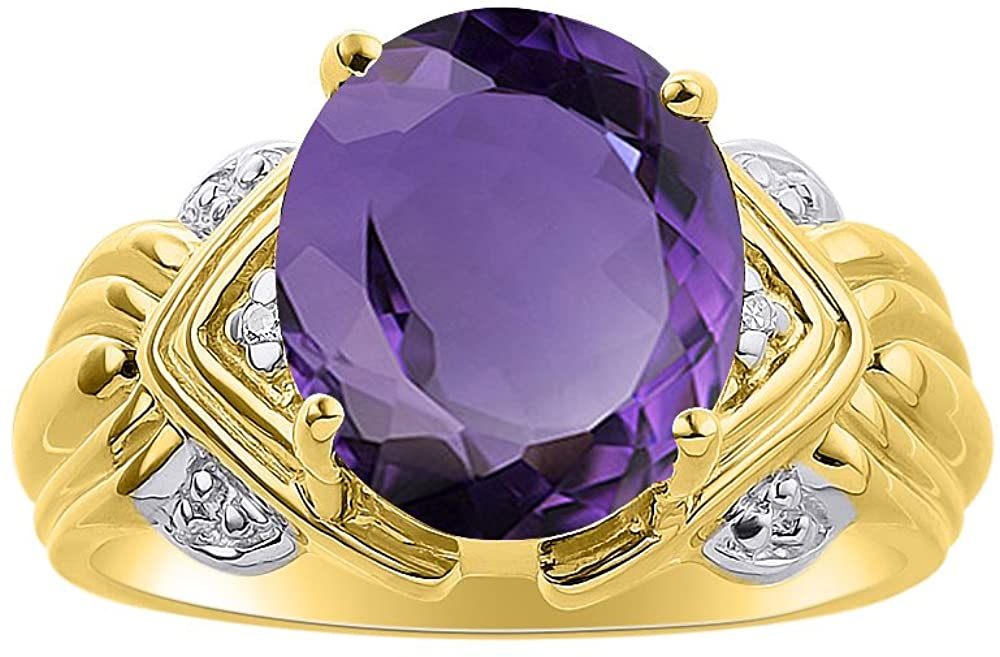 Diamond & Amethyst Ring Set In Yellow Gold Plated Silver - 12 X 10MM Color Stone Birthstone Ring