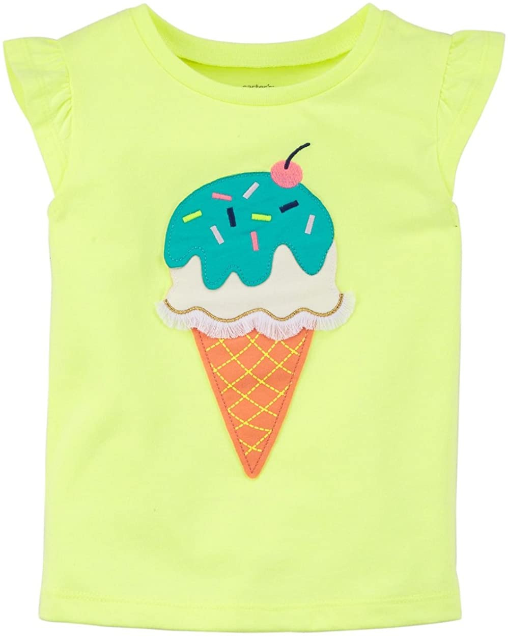 Carter's Girls' 2T-8 Flutter Sleeve Tees (Miss Independent, 7) (Neon Yellow/Ice Cream, 4-5)