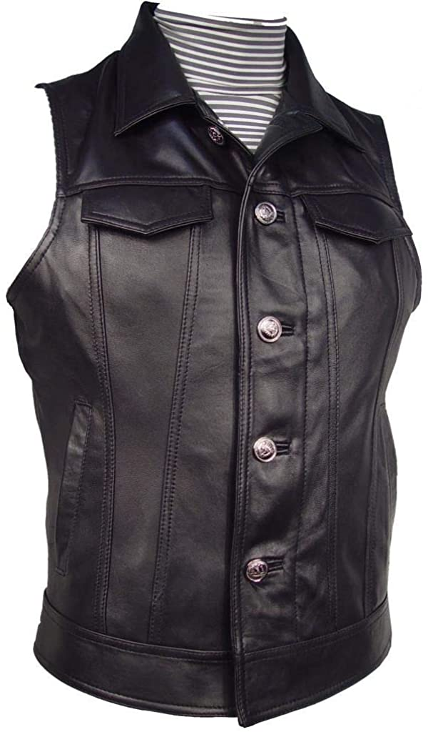 Paccilo New Mens Black Lambskin Real Leather Western Vest Button Front