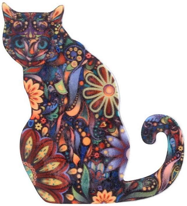 Broche con diseño de gato.