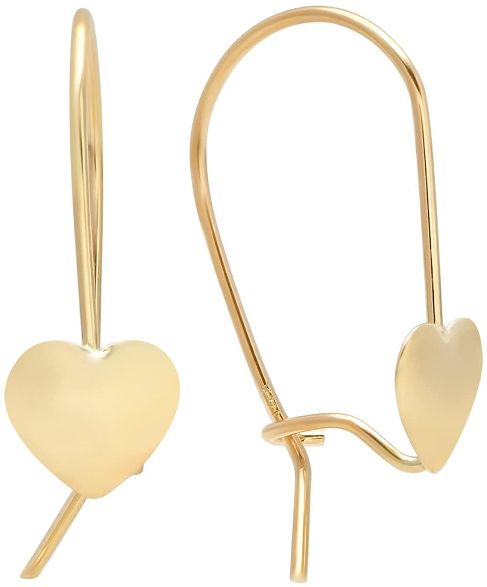 Pori Jewelers 14K Solid Gold Lever-Back Heart Drop Earrings - High Polish Shiny Finish