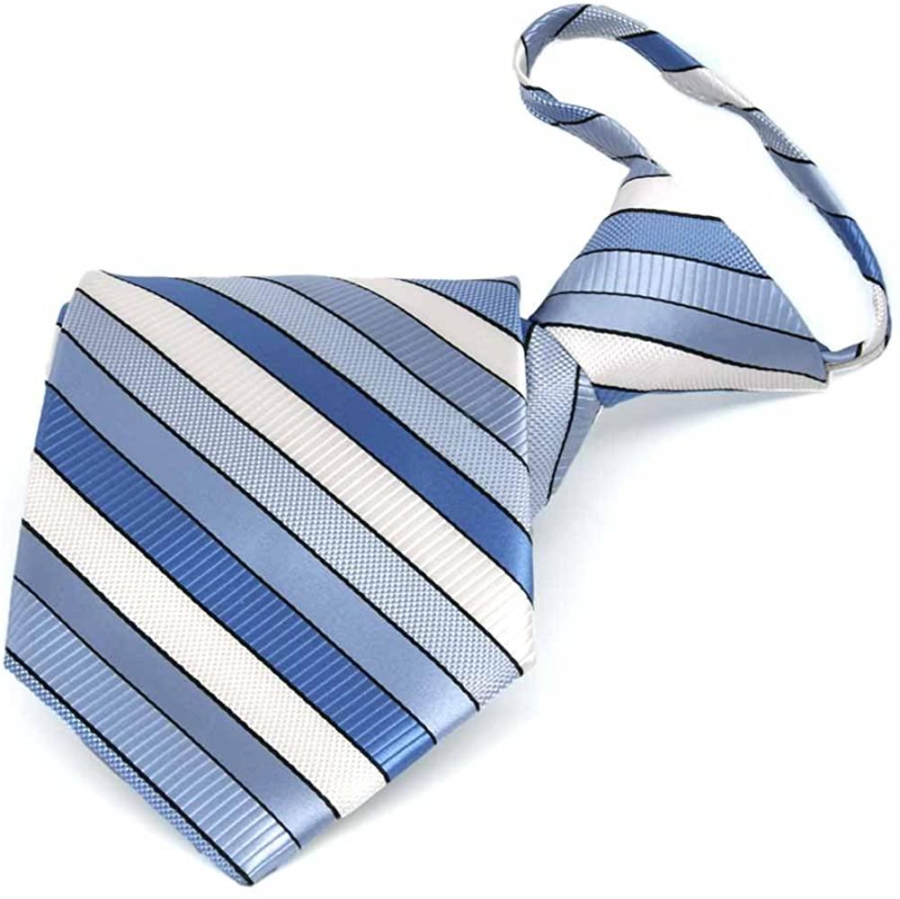 TieMart Wave Blue Douglas Stripe Zipper Tie