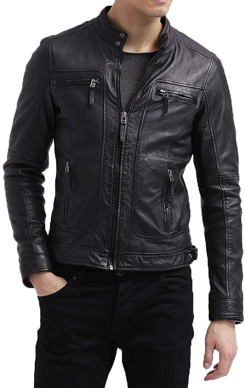 Men's Genuine Lambskin Leather Jacket MJ 273