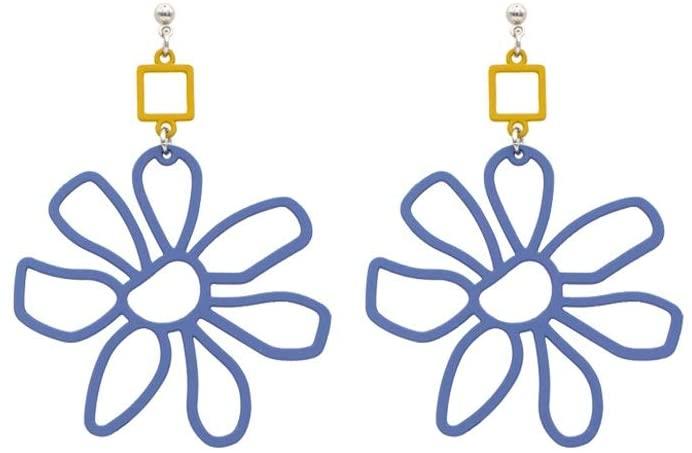 LRHD Classic Design Stud Earrings, Blue Flower Shape Earrings for Girls Women Men Fashion Jewelry Classic Design Earrings for Birthday/Party/Christmas/Friendship/Valentine Gifts
