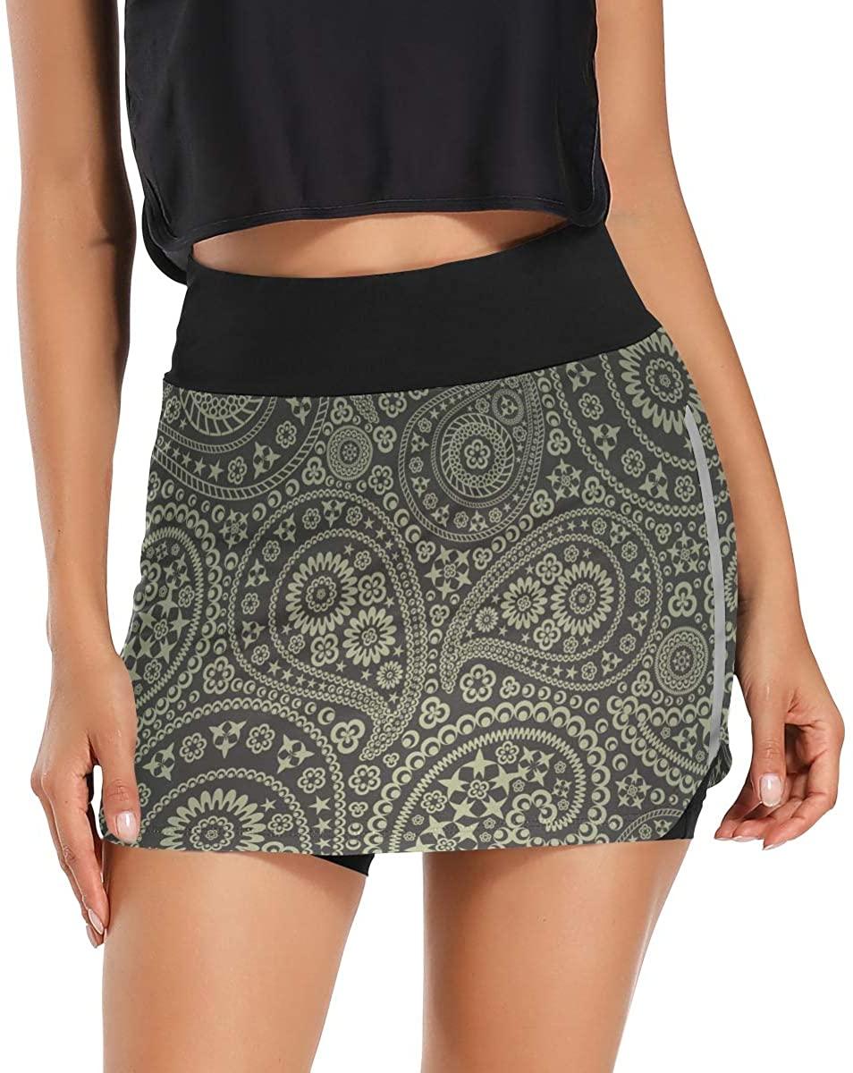 Ladninag Skorts Skirts for Women Star Paisley Pattern Golf Skirts with Pockets Inner Biker Shorts Active