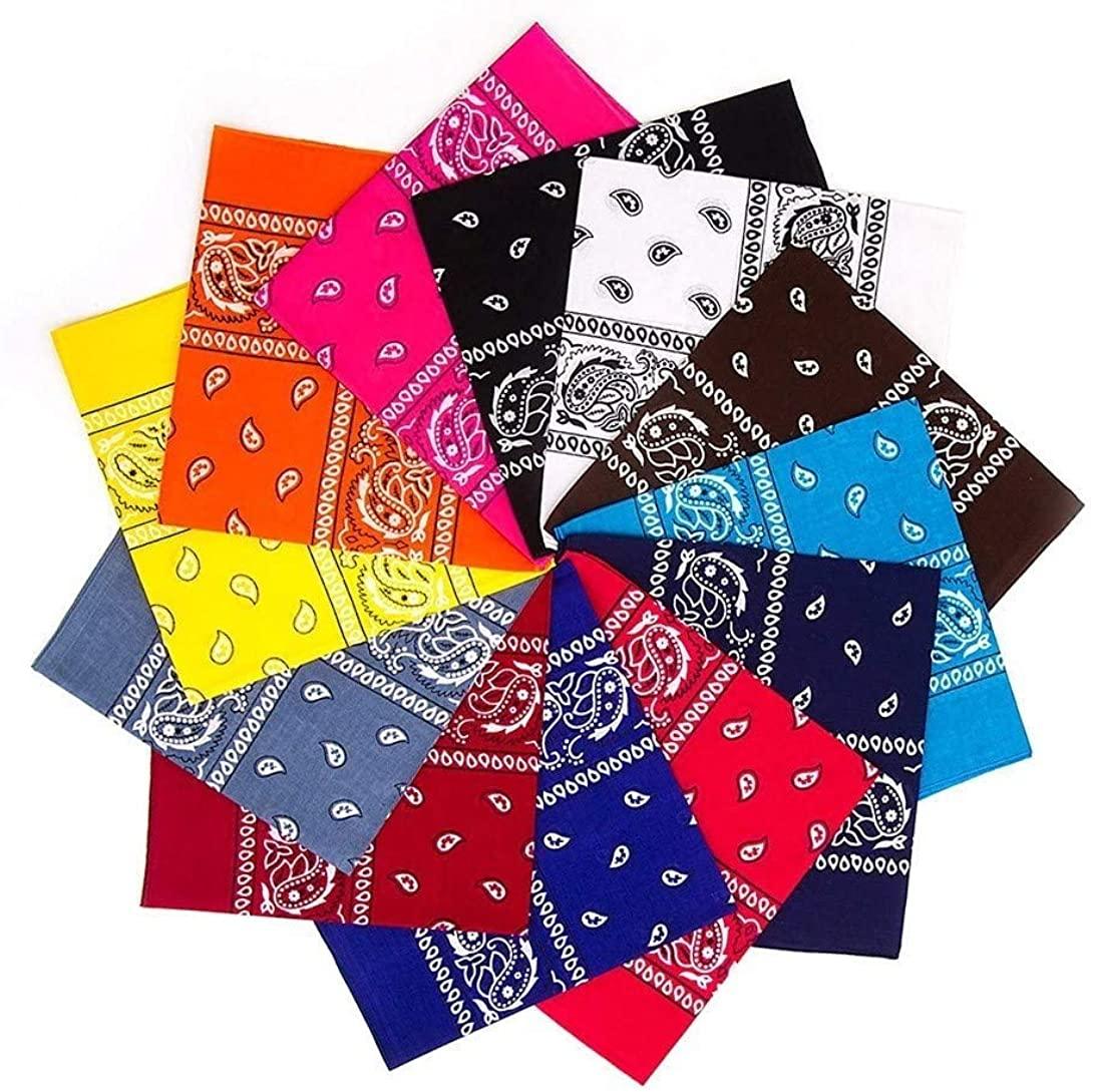 12 Pack Cowboy Bandanas One Dozen Novelty Headbands for Women Men Dogs, Organic 100% Cotton Random Colors
