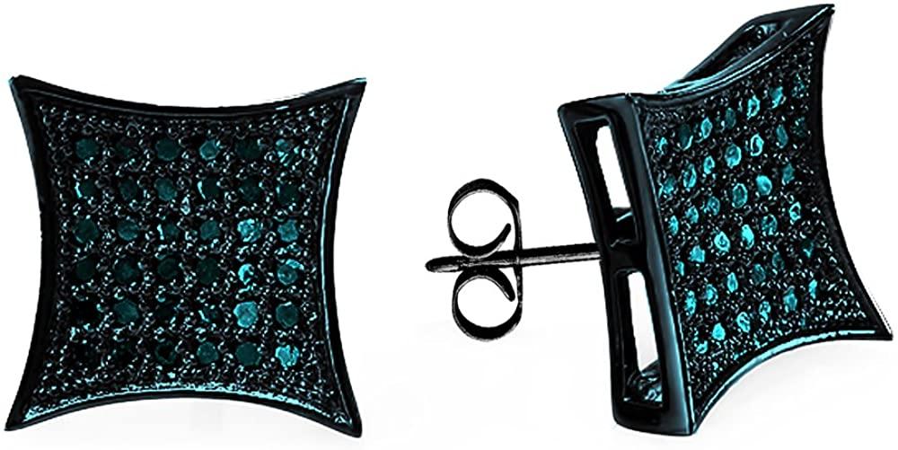 Dazzlingrock Collection 0.15 Carat (ctw) Blue Rhodium Plated Blue Diamond Kite Mens Hip Hop Stud Earrings, Sterling Silver