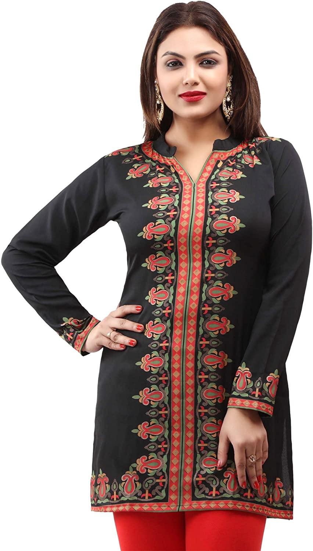 Maple Clothing Women's Short Kurti Printed Kurta Indian Tunic Top India Clothing