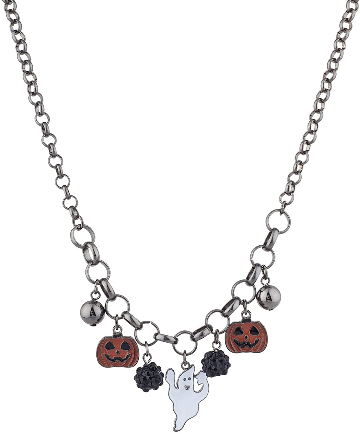 Lux Accessories Halloween Black Ghost Pumpkin Charms Collar Chain Necklace