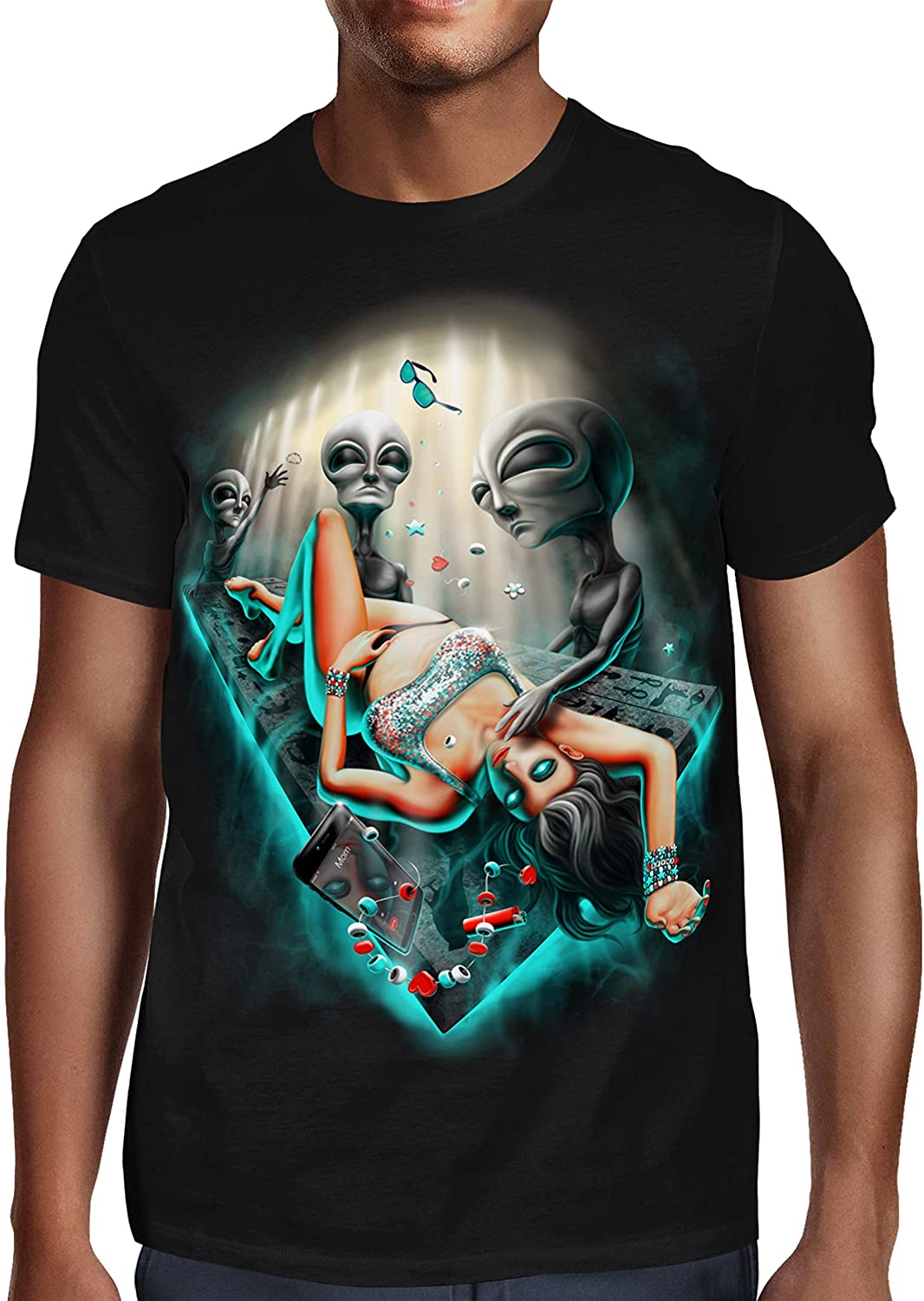 SFYNX 'PLURduction' Alien Rave T Shirt - Glow in The Dark EDM Clothing - Blacklight Reactive Mens Tee