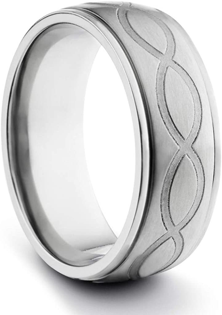 TungstenMasters Roberto Ferrini Design 8MM Titanium Mens Brushed & Polished Infinity Loop Laser Engraved Comfort Fit Wedding Band Ring (Available Sizes 7-14 Including Half Sizes)