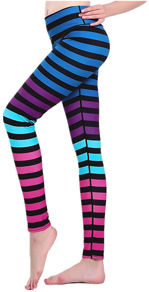 YoYoiei Women's Striped Ankle Length Yoga Pants Tummy Control Workout Leggings