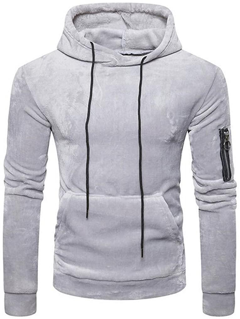 Cafuny Mens Casual Slim Sports Coral Velvet Hoodies Pullover Sweatshirt