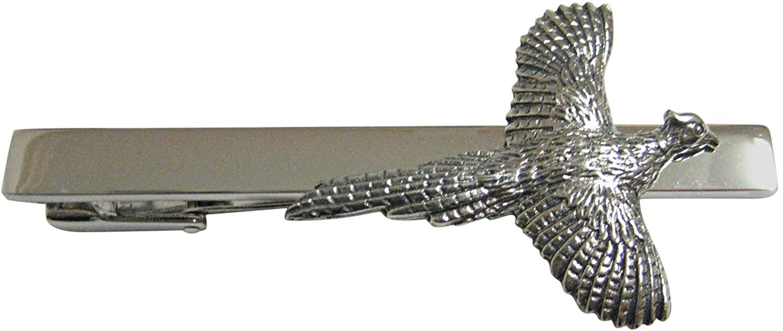 Silver Toned Textured Pheasant Bird Square Tie Clip