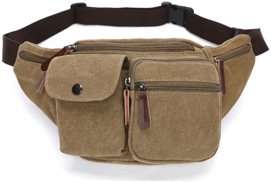 COOJOY Men Canvas Fanny Pack Waist Bag Outdoor Waist Pack Running Belt Bag Workout Pouch Bum Bag, Khaki