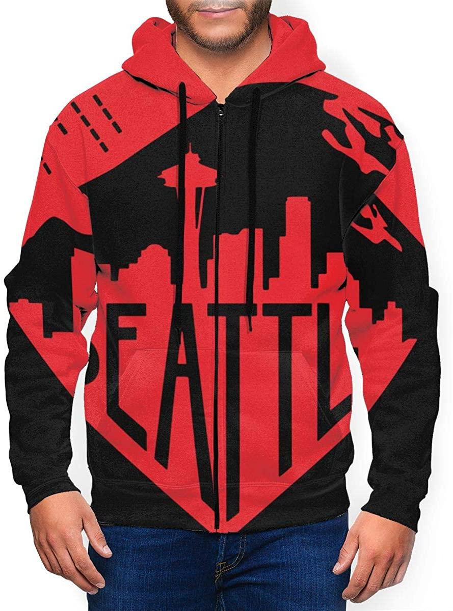 KUNPENG Men's Seattle Heart Print Baseball Uniform Jacket Sweatshirt Sport Coat Baseball Jacket Uniform Varsity Premium Jacket Overcoat