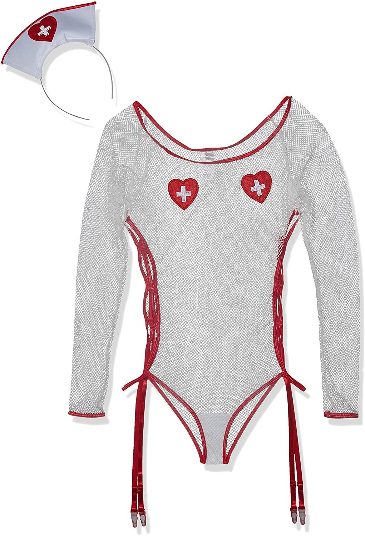 Starline Women's Love Me Nurse Fishnet Romper Bedroom Costume Set with Headband