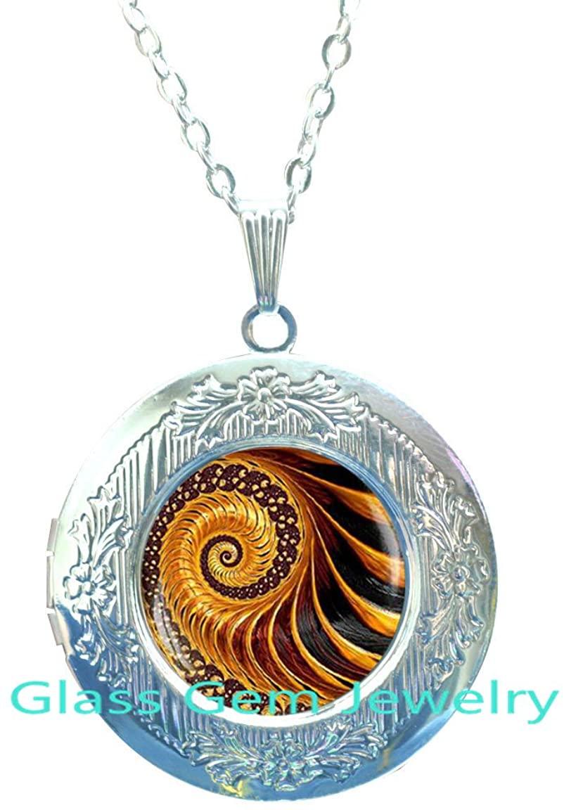Golden Fractal Locket Necklace , Fractal Locket Pendant, Fractal jewelry, Fibonacci Spiral Locket Pendant, Golden Ratio, Fibonacci Locket Pendant, Sacred geometry,Q006