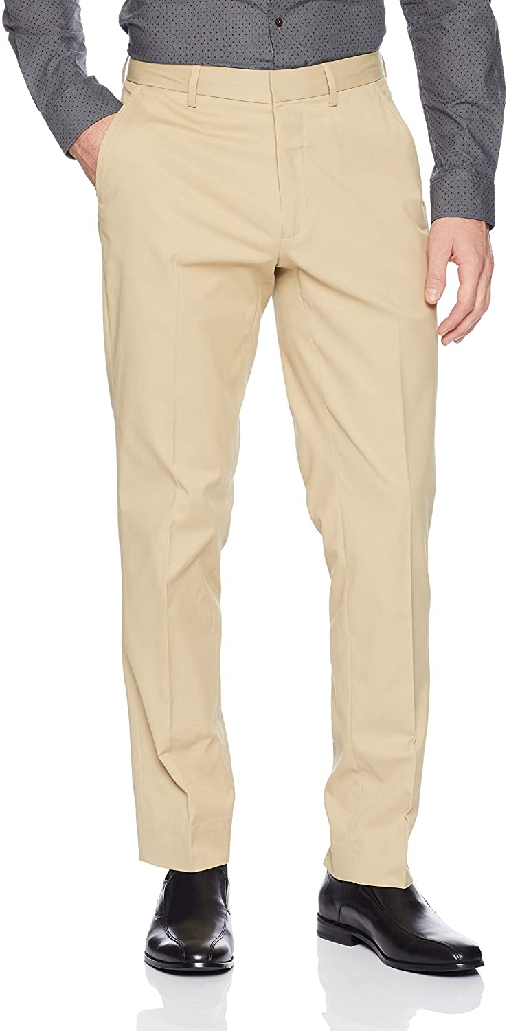 Tahari Men's 4-Way Stretch Cotton Tech Flat Front, tan, 36W x 32L