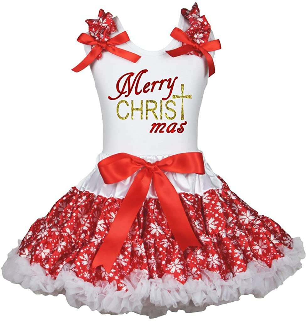 Petitebella Bling Merry Christmas White Shirt Snowflake Red Outfit Set 1-8y