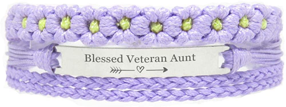 Miiras Family Engraved Handmade Bracelet - Blessed Veteran Aunt - Purple FL - Made of Braided Rope and Stainless Steel - Gift for Veteran Aunt