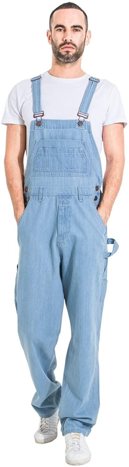 USKEES Basic Denim Overalls - Pale Wash Men's Value Dungarees Relaxed Fit