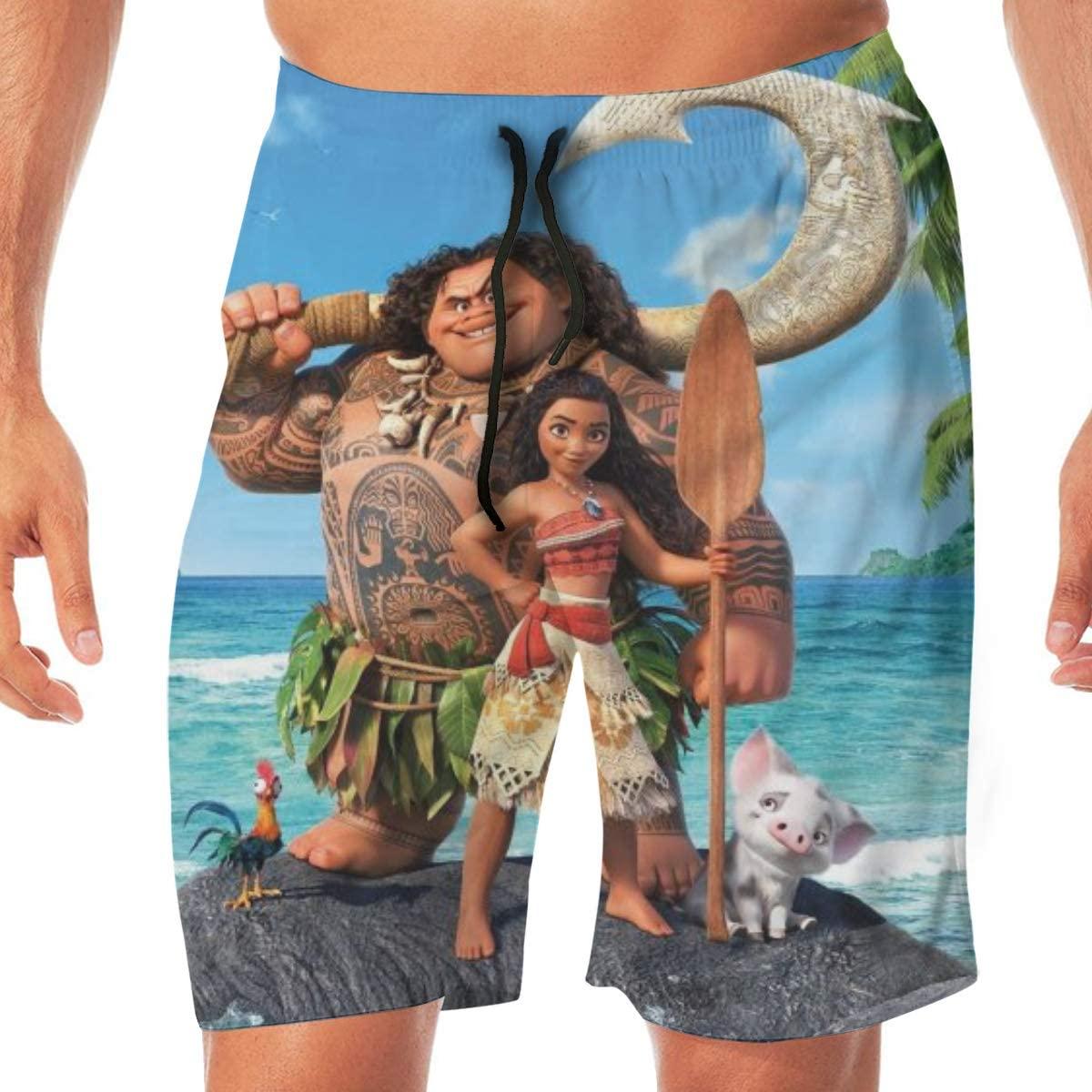 MICHAEL NEWTON Moana Action Figure Swim Trunks Quick Dry Swimwear Beach Shorts for Men
